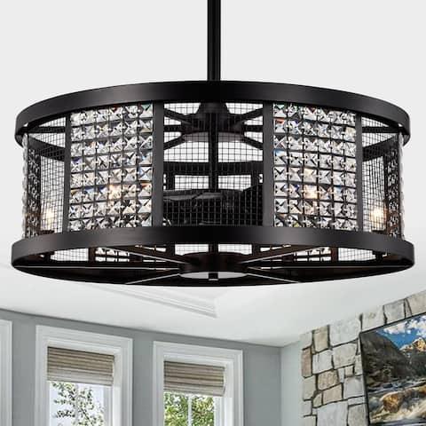 Hania Matte Black Ceiling Fan 29-Inch 6-Light Geometric Metal & Crystal Drum Shade (Includes Remote)