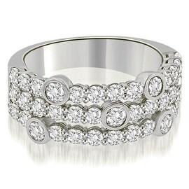 2.20 cttw. 14K White Gold Three-Row Round Cut Diamond Wedding Ring