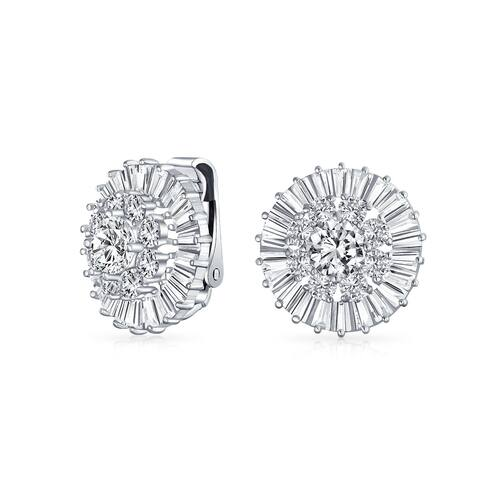 Wedding CZ Baguette Pave Round Clip On Earrings Ears Silver Plated - .72