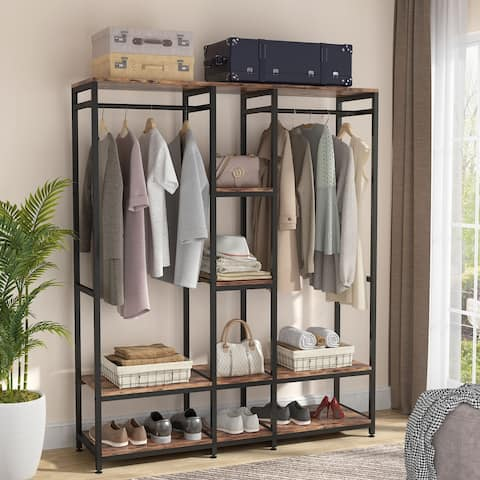 Free Standing Closet Organizer with Shelves & Rod