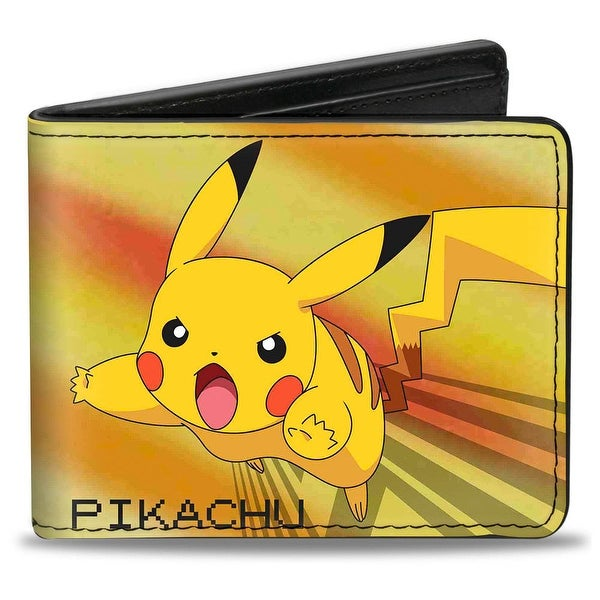 Pikachu Attack Pose + Pokmon Pok Ball Yellows Greens Blues Bi Fold Wallet - One Size Fits most
