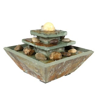 Sunnydaze Ascending Slate Tabletop Water Fountain with LED Light, 8 Inch Tall