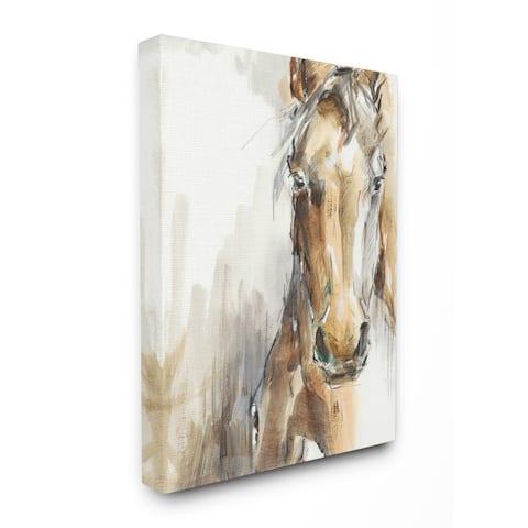 Porch & Den 'Horse Portrait' Watercolor Canvas Wall Art