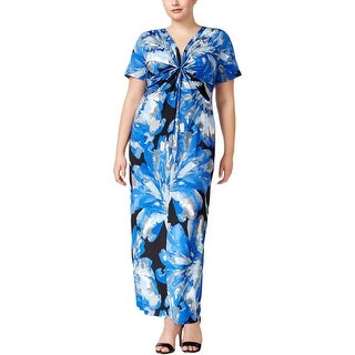 NY Collection Womens Plus Maxi Dress Printed Knot-Front - 1x