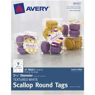 "White - Textured Scallop Round Tags 2.5"" 27/Pkg"