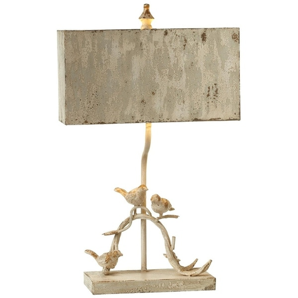Shop 26 75 White Distressed Bird On Branch Table Lamp With