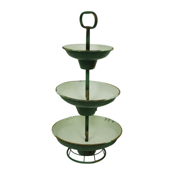 Green And White Rustic Metal 3 Tier Tray Stand