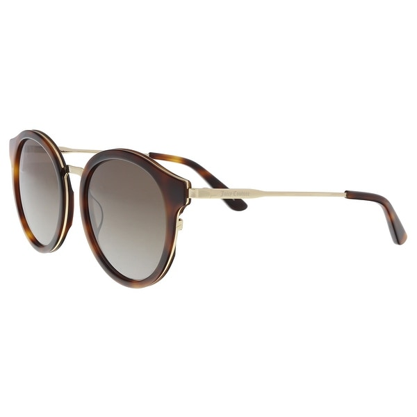 5ea71688e49a69 Shop Juicy Couture JU596 S 02IK HA Havana Gold Round Sunglasses - 52 ...