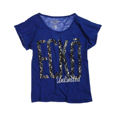 Ecko Unltd. Womens Lace Open Neck Graphic T-Shirt