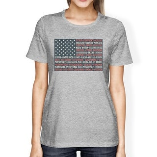 50 States US Flag American Flag Shirt Womens Grey Cotton T-Shirt