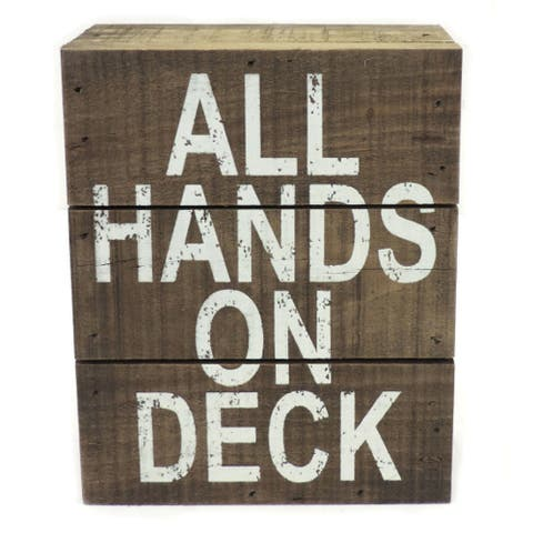 All Hands on Deck Box Shelf Sign Wood 7 Inches