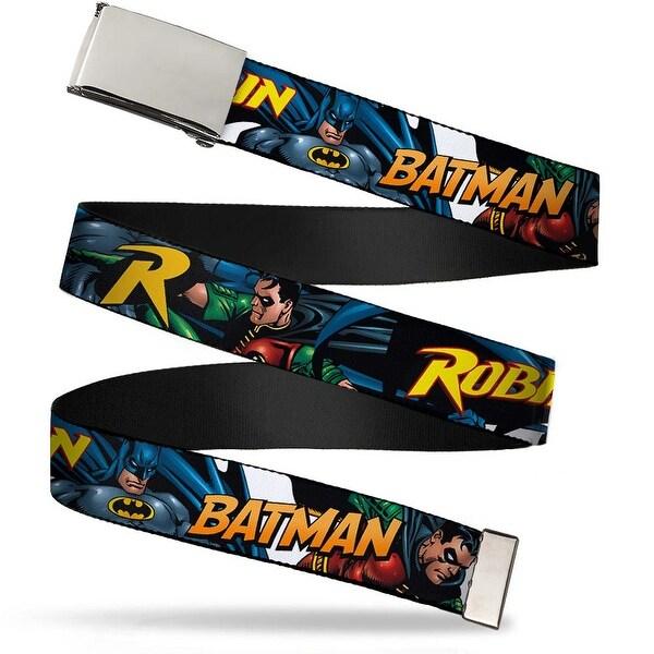 Blank Chrome Buckle Batman & Robin In Action W Text White Webbing Web Belt