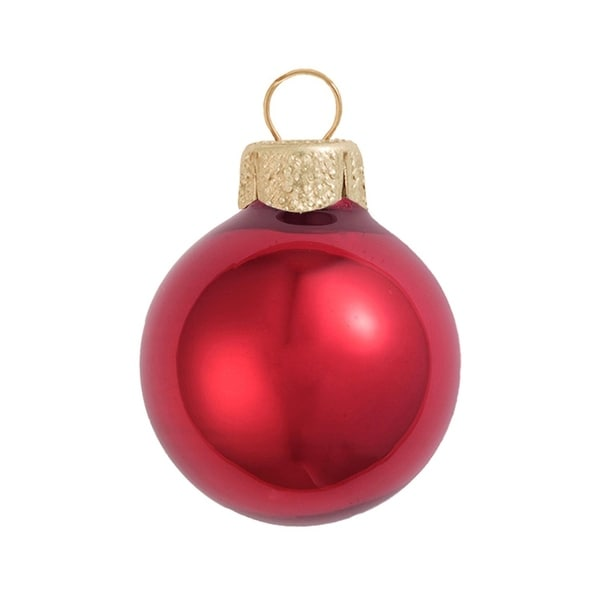 "12ct Pearl Red Xmas Glass Ball Christmas Ornaments 2.75"" (70mm)"