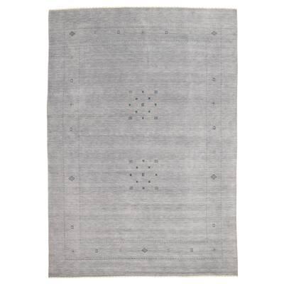 ECARPETGALLERY Hand Loomed Gabbeh Luribaft Grey Wool Rug - 10'0 x 13'9