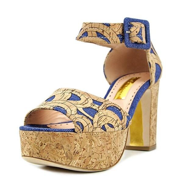Rupert Sanderson Logie Women Open Toe Synthetic Tan Platform Sandal