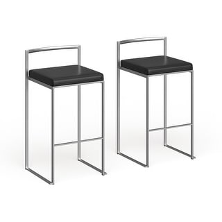 Link to Silver Orchid Forrest Stackable Faux Leather Bar Stools (Set of 2) - N/A Similar Items in Dining Room & Bar Furniture