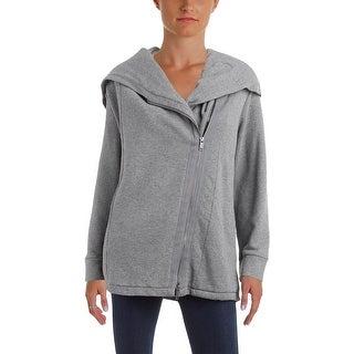 Pure DKNY Womens Hoodie Cotton Asymmetrical - L