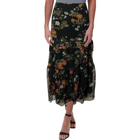 Lauren Ralph Lauren Womens Laucar Peasant, Boho Skirt Floral Print Tiered
