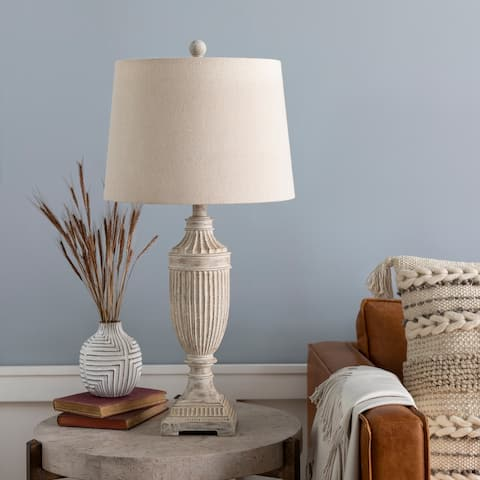 """Archie Whitewashed Urn 28-inch Table Lamp - 28""""H x 14""""W x 14""""D"""