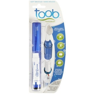 Toob 4-in-1 Refillable Travel Toothbrush Kit - Blue - One size