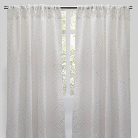 "Rodeo Home Lasky Rod Pocket Metallic Sheer Curtain Panels (Set of 2) - 54"" x 96"" - 54"" x 96"""