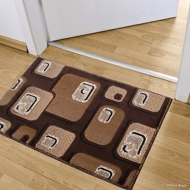 """Allstar Chocolate Doormat Accent Rug Woven High Quality High Density Double Shot Drop-Stitch Carving (2' 0"""" x 3' 3"""")"""