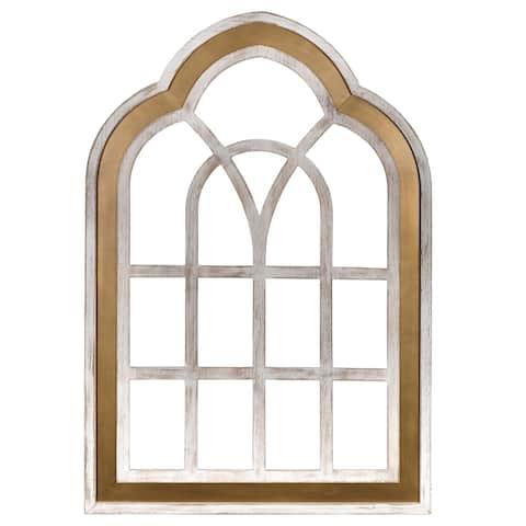 Stratton Home Decor Gold and White Window Panel Wall Decor