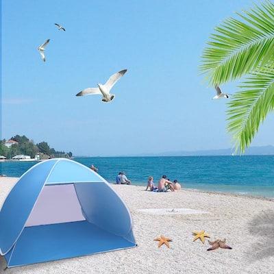 2-3 Person Beach Tent Pop Up Sun Shelter Tent Big Automatic Sun Umbrella 2-3 Person Fishing Beach Shelter Blue