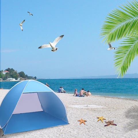 2-3 Person Beach Tent Pop Up Sun Shelter Tent Big Automatic Sun Umbrella 2-3 Person Fishing Beach Shelter Blue