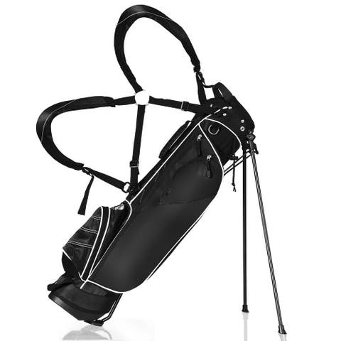 Gymax Black Golf Stand Cart Bag Club with Carry Organizer Pockets Blue