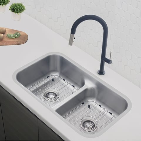 """32"""" L X 18"""" W Stainless Steel Double Basin Undermount / Drop In Kitchen Sink With Grids And Strainers"""