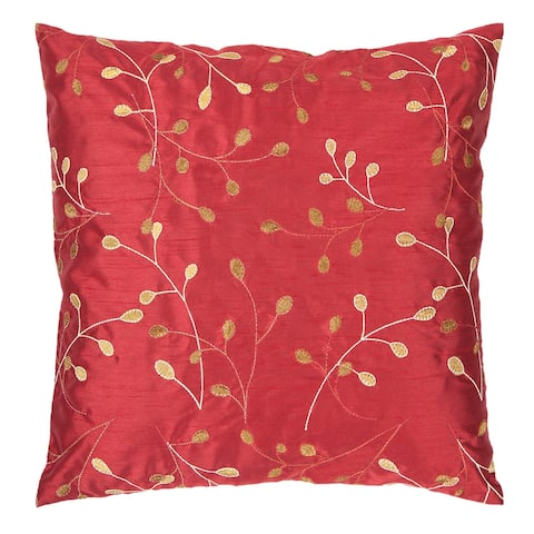 Sofiya Modern Floral Bright Red Feather Down or Poly Filled Throw Pillow 22-inch