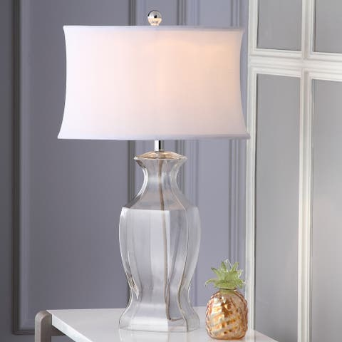 """SAFAVIEH Lighting 27.5-inch Clear Glass Table Lamp (Set of 2) - 17""""x12""""x28"""""""