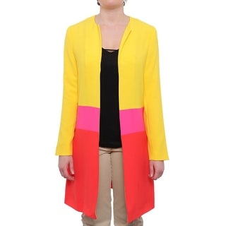 Anne Klein  Colorblocked Car Coat Basic Coat Royal Yellow Combo