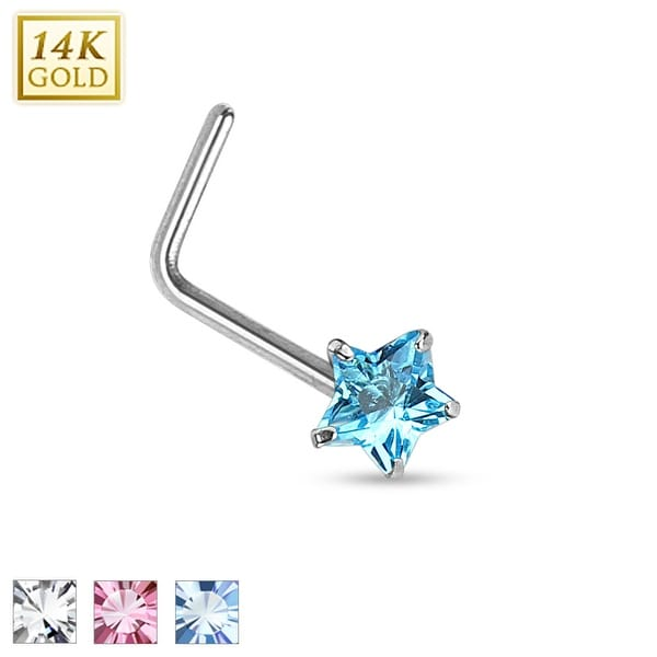 14Kt White Gold Prong Star CZ L Bend Nose Ring - 20GA (Sold Ind.)