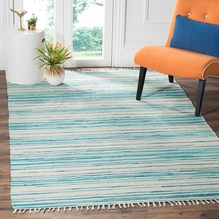 Safavieh Handmade Rag Rug with Fringe Valborg Casual Stripe Cotton Rug with Fringe