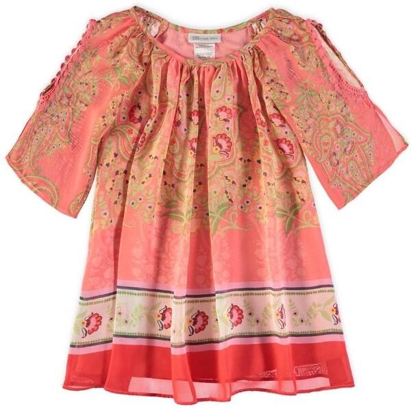6748b48c0680 Shop Bonnie Jean Girls 4-6X Chiffon Cold Shoulder Dress - Coral ...