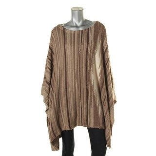 Lauren Ralph Lauren Womens Wool Blend Striped Poncho Sweater - o/s