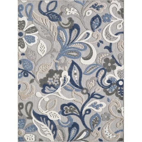 Domani Napa Floral Textured Indoor/ Outdoor Rug
