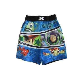 Disney Little Boys Blue Cartoon Character Print Swimwear Shorts