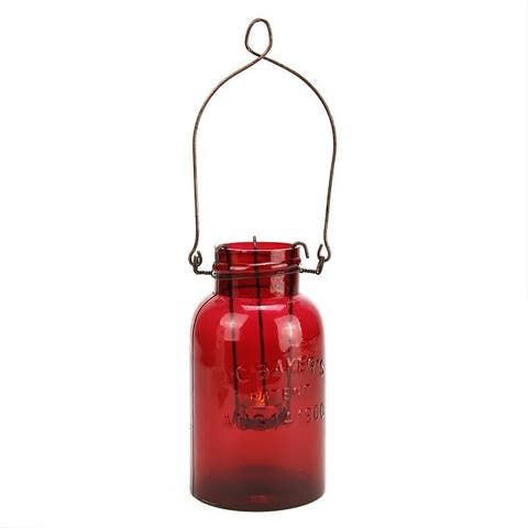 "7.5"" Fancy Fair Decorative Red Glass Mason Jar Tealight Holder"