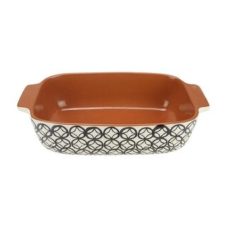 "12"" Basic Luxury Decorative Black and White Diamond Rectangular Terracotta Oven Baking Dish"