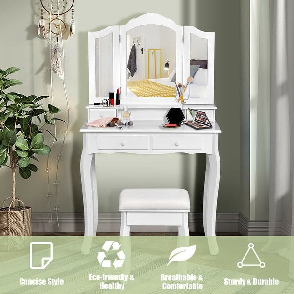 Gymax Bathroom Vanity Jewelry Makeup