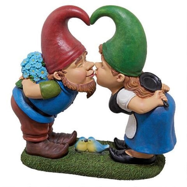 """12.5"""" Lover Gnomes Hand Painted Outdoor Garden Statue - N/A"""