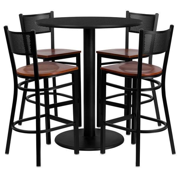 Rustburg Round 36 Black Laminate Bar Pub Table Set W 4 Grid Back