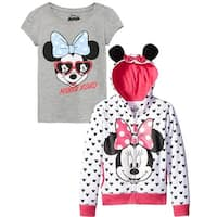 Disney Girls 2T-4T Minnie Mouse Bow Hoodie T-Shirt Set - Black