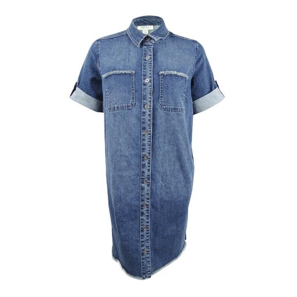 Style & Co. Women\'s Plus Size Raw-Hem Denim Shirtdress - Hurricane