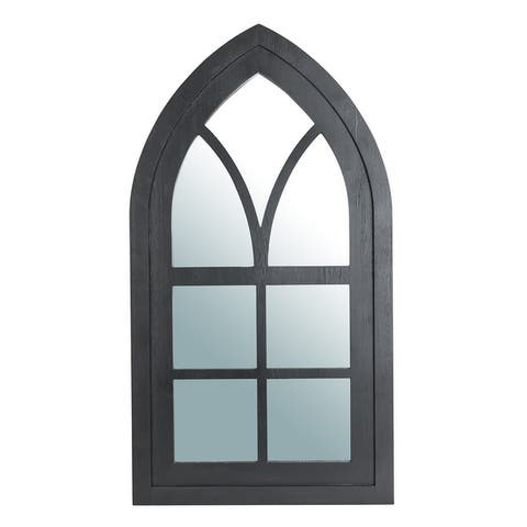 """Glitzhome 40""""H Wooden Cathedral Windowpane Wall Mirror"""