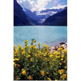 """Wildflowers in bloom, Lake Louise, Alberta, Canada."" Poster Print"