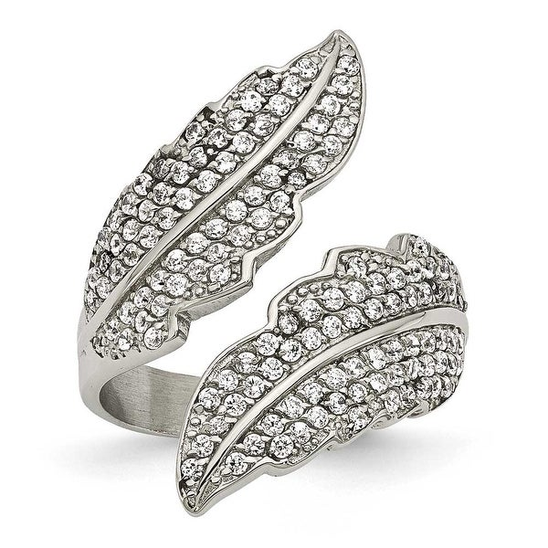 Chisel Stainless Steel Polished Leaf with CZs Ring